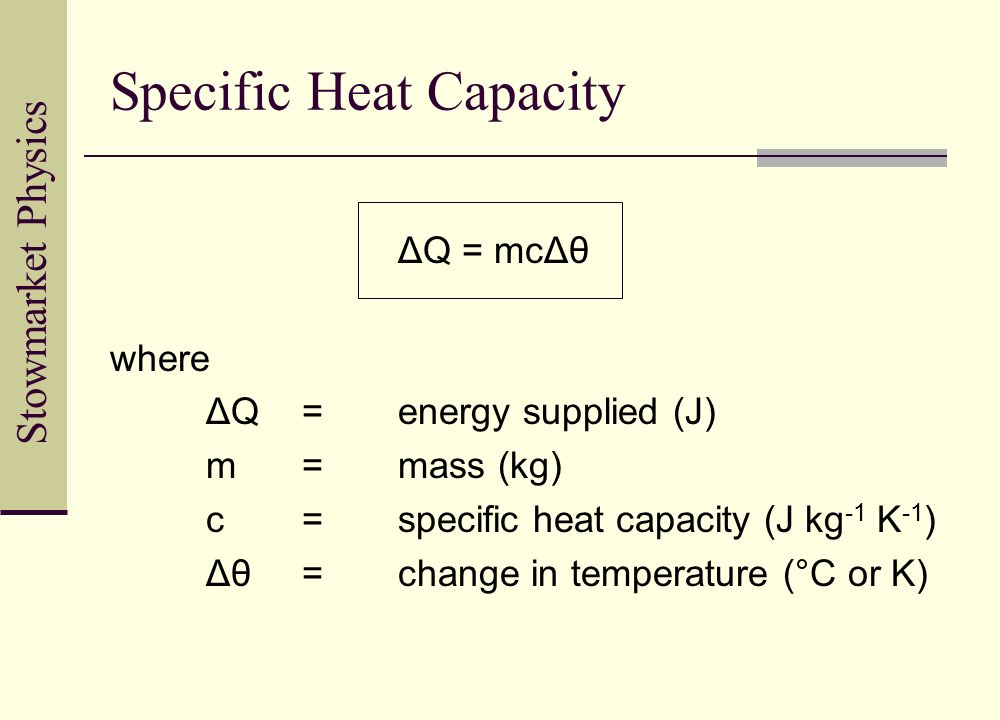 Stowmarket Physics Specific Heat Capacity ΔQ = mcΔθ where ΔQ=energy supplied (J) m=mass (kg) c=specific heat capacity (J kg -1 K -1 ) Δθ=change in tem