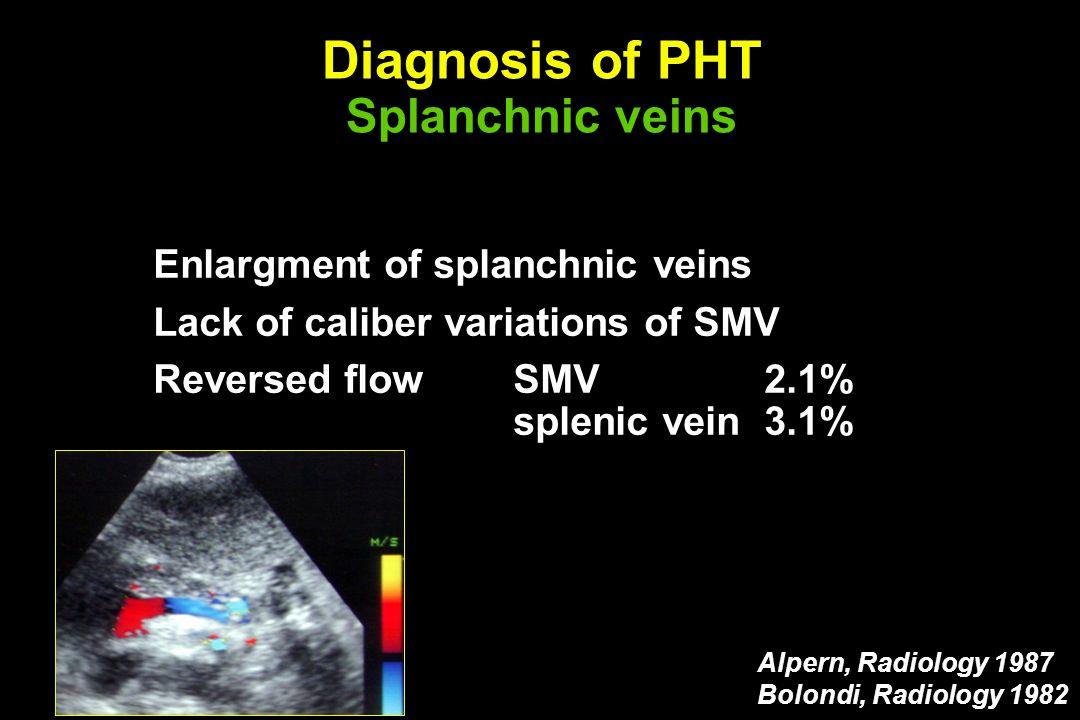 Diagnosis of PHT Splanchnic veins Enlargment of splanchnic veins Lack of caliber variations of SMV Reversed flowSMV2.1% splenic vein3.1% Alpern, Radio