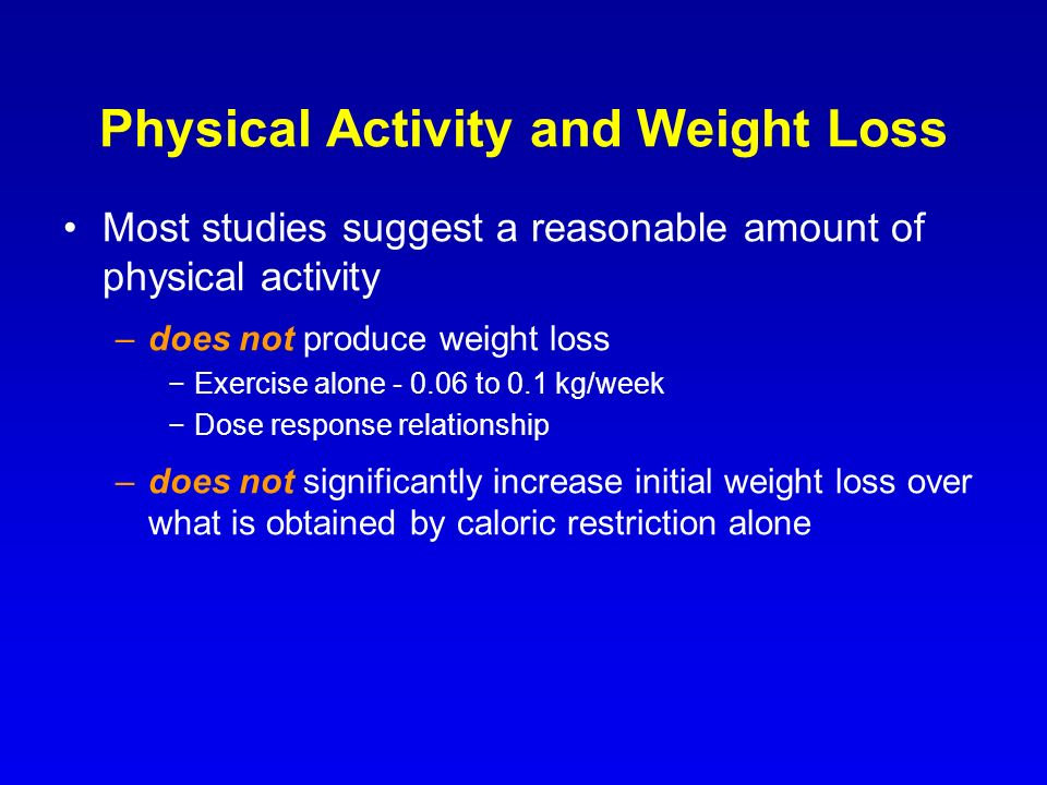Physical Activity and Weight Loss Most studies suggest a reasonable amount of physical activity –does not produce weight loss Exercise alone - 0.06 to