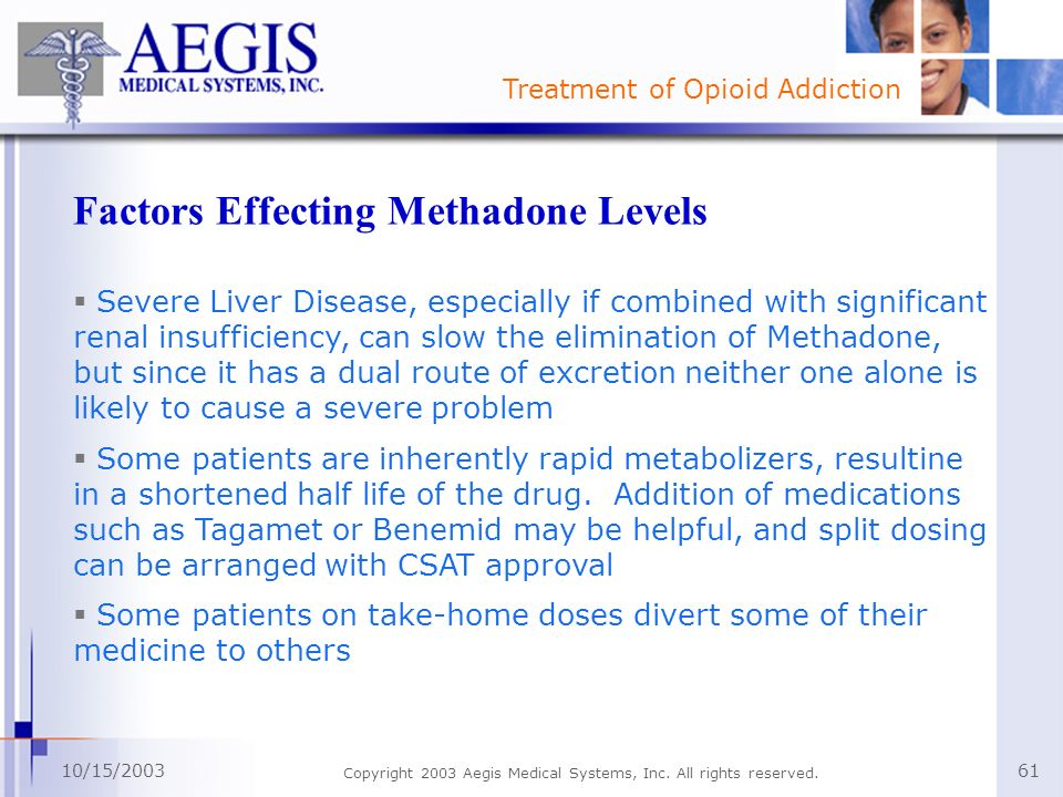 Treatment of Opioid Addiction 10/15/2003 Copyright 2003 Aegis Medical Systems, Inc. All rights reserved. 61 Factors Effecting Methadone Levels Severe