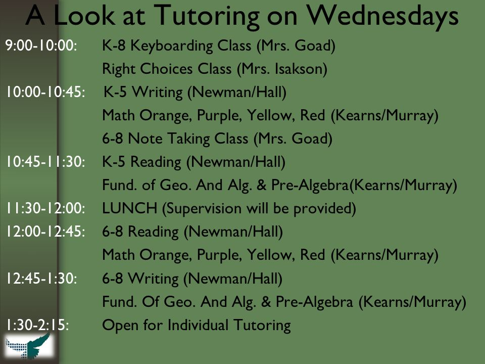 A Look at Tutoring on Wednesdays 9:00-10:00: K-8 Keyboarding Class (Mrs.