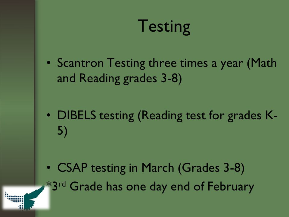 Testing Scantron Testing three times a year (Math and Reading grades 3-8) DIBELS testing (Reading test for grades K- 5) CSAP testing in March (Grades 3-8) *3 rd Grade has one day end of February