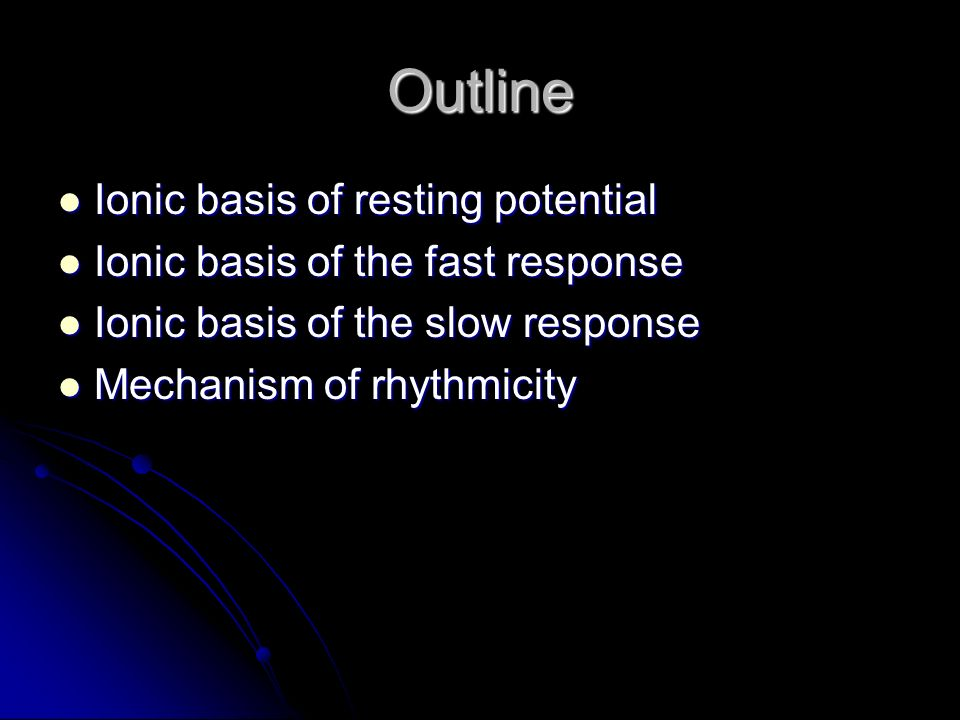 Ionic basis of the resting potential Potential inside the cardiac cell is -90 mV relative to outside.