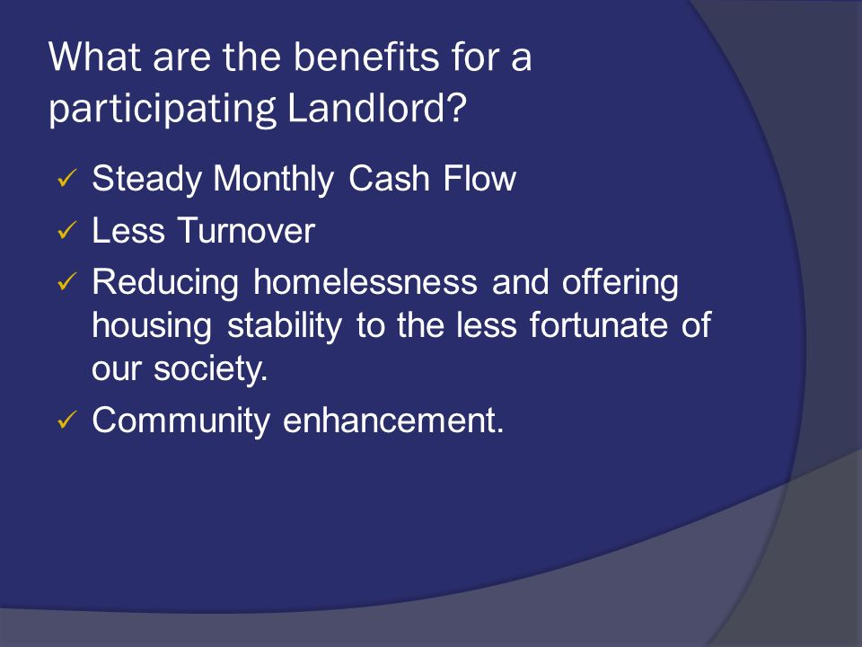 What are the benefits for a participating Landlord.