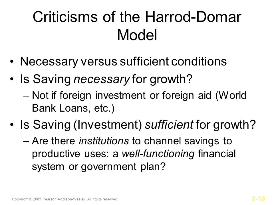 Copyright © 2009 Pearson Addison-Wesley. All rights reserved. 3-16 Criticisms of the Harrod-Domar Model Necessary versus sufficient conditions Is Savi
