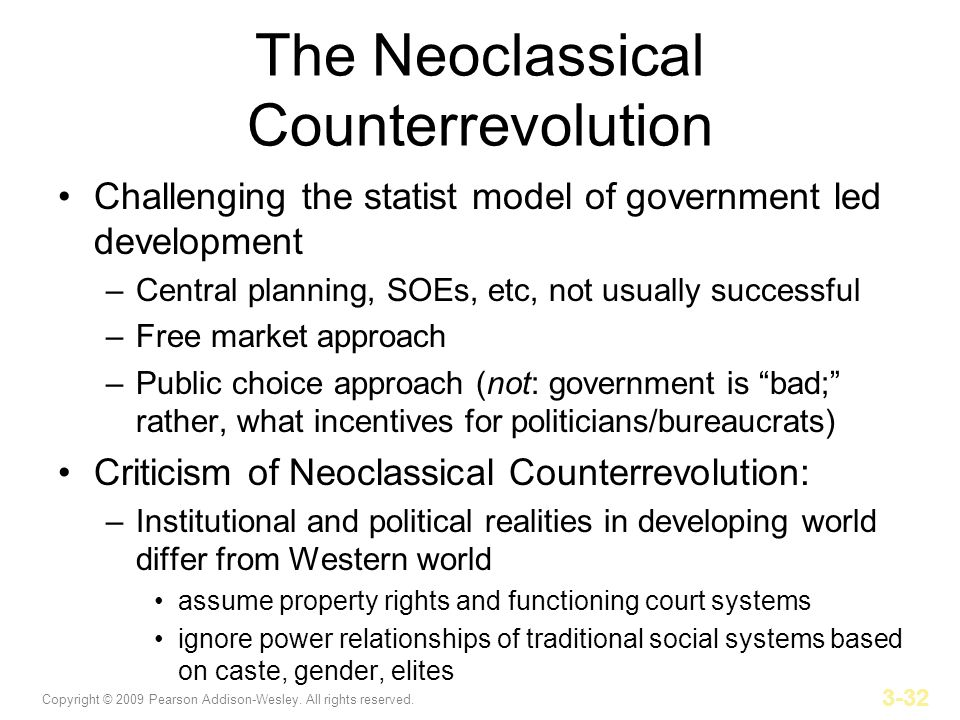 Copyright © 2009 Pearson Addison-Wesley. All rights reserved. 3-32 The Neoclassical Counterrevolution Challenging the statist model of government led