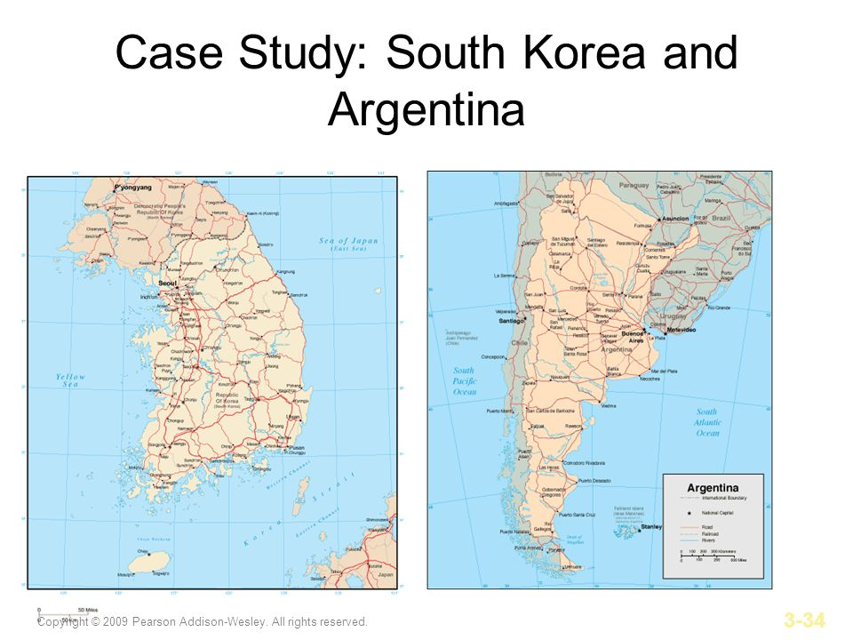 Copyright © 2009 Pearson Addison-Wesley. All rights reserved. 3-34 Case Study: South Korea and Argentina