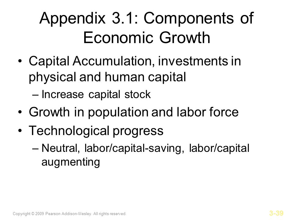 Copyright © 2009 Pearson Addison-Wesley. All rights reserved. 3-39 Appendix 3.1: Components of Economic Growth Capital Accumulation, investments in ph