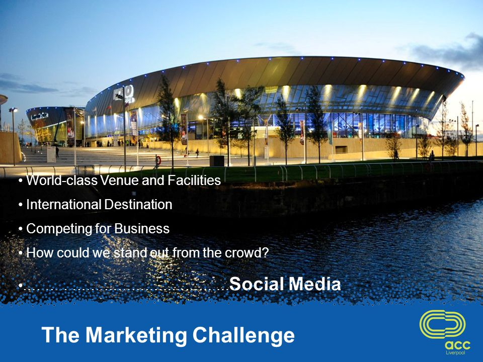 World-class Venue and Facilities International Destination Competing for Business How could we stand out from the crowd.