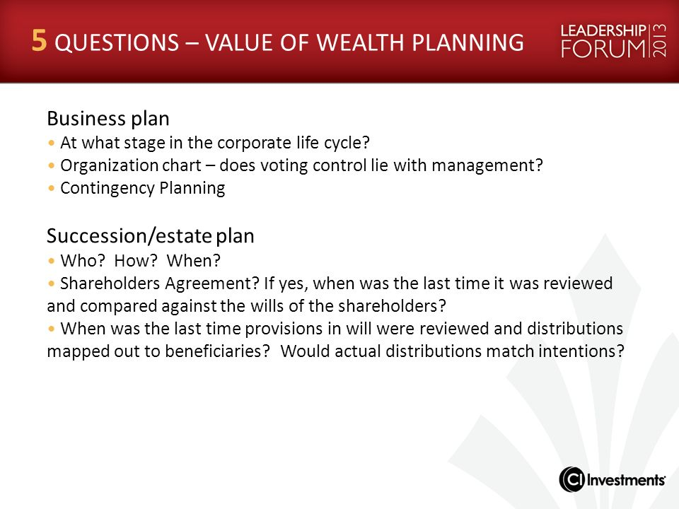 Business plan At what stage in the corporate life cycle? Organization chart – does voting control lie with management? Contingency Planning Succession