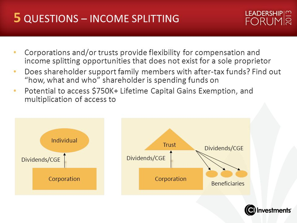 5 QUESTIONS – INCOME SPLITTING Corporations and/or trusts provide flexibility for compensation and income splitting opportunities that does not exist