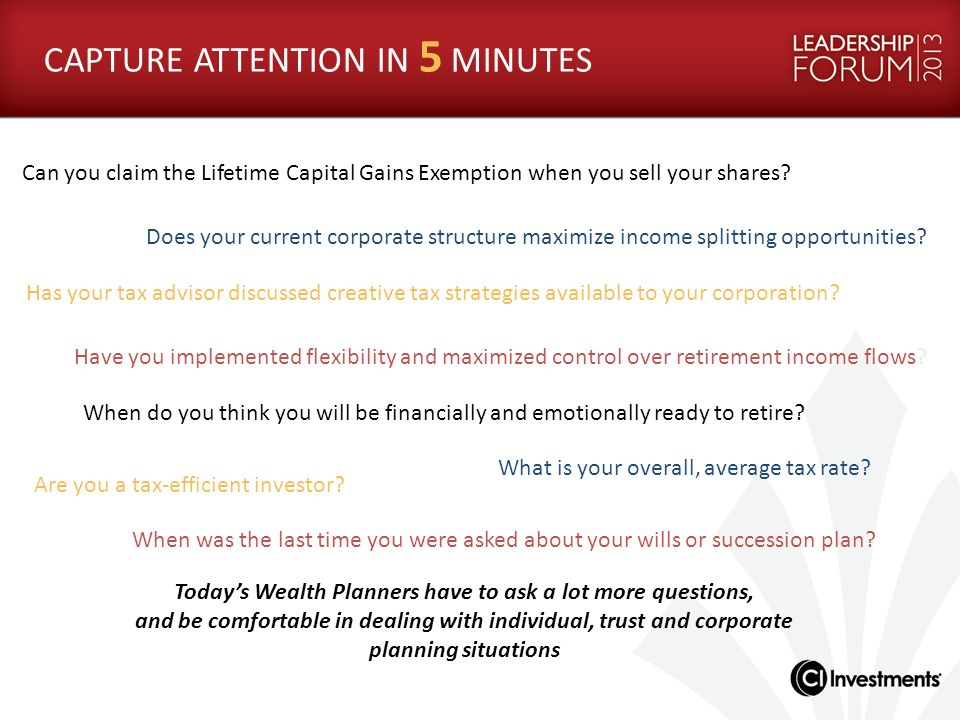 Todays Wealth Planners have to ask a lot more questions, and be comfortable in dealing with individual, trust and corporate planning situations Has yo