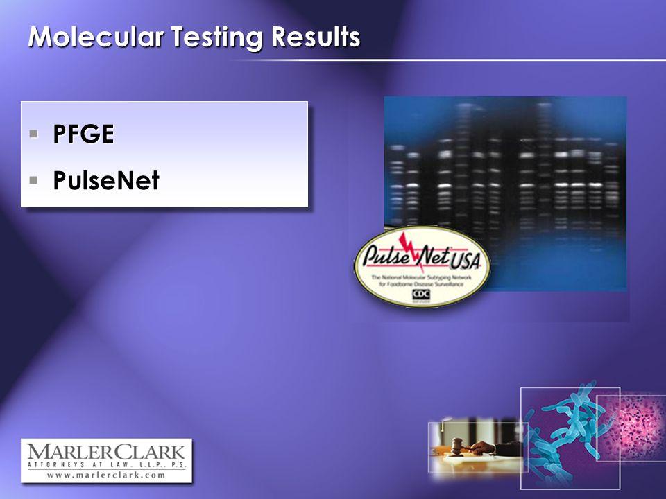 Molecular Testing Results PFGE PFGE PulseNet PulseNet