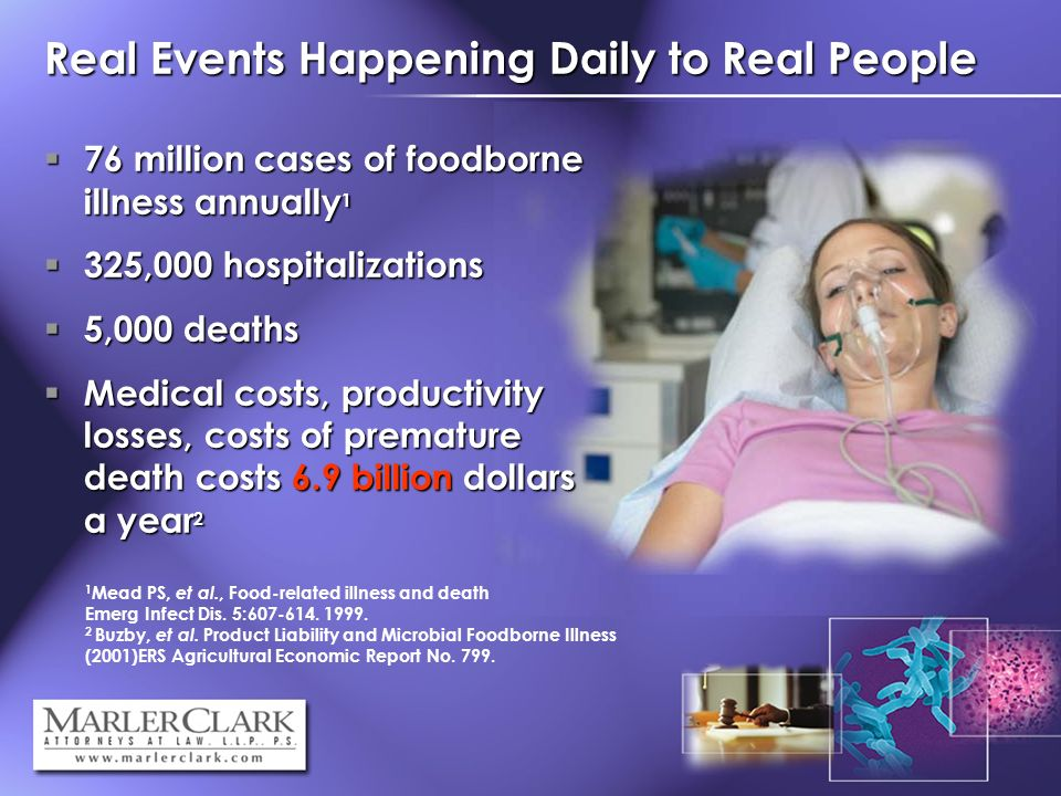 Real Events Happening Daily to Real People 1 Mead PS, et al., Food-related illness and death in the United States, Emerg Infect Dis.