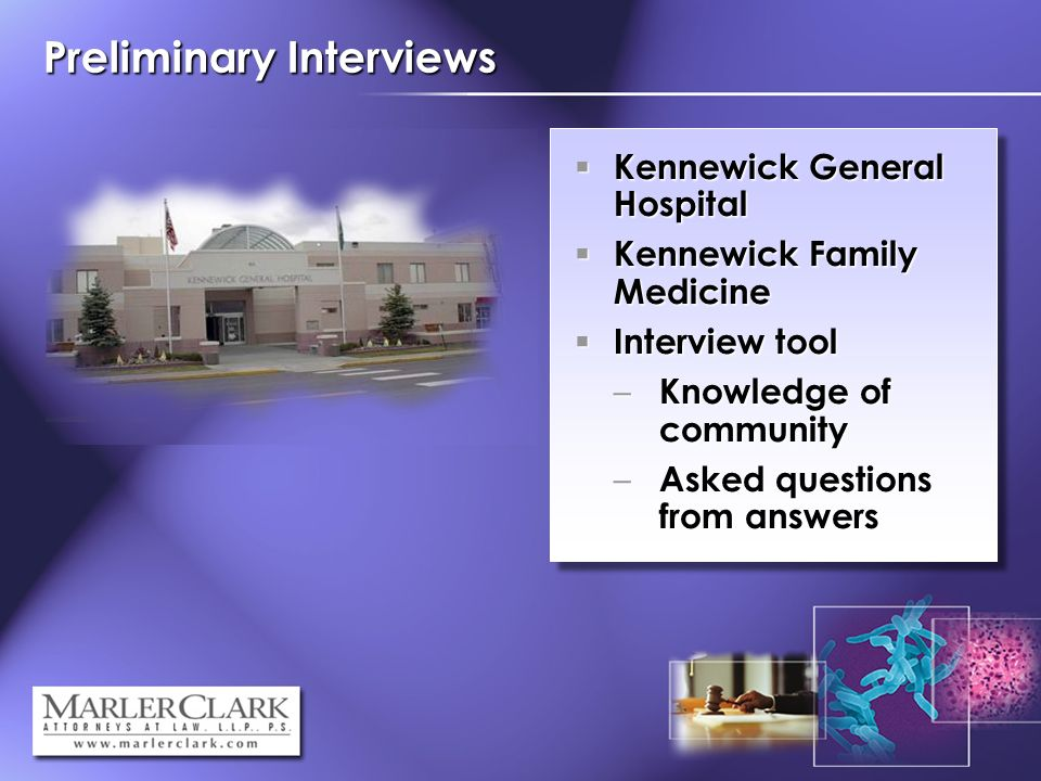 Preliminary Interviews Kennewick General Hospital Kennewick General Hospital Kennewick Family Medicine Kennewick Family Medicine Interview tool Interview tool – Knowledge of community – Asked questions from answers
