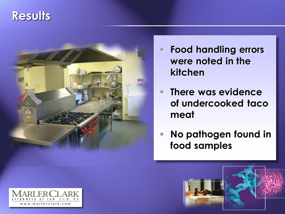 Results Food handling errors were noted in the kitchen Food handling errors were noted in the kitchen There was evidence of undercooked taco meat There was evidence of undercooked taco meat No pathogen found in food samples No pathogen found in food samples
