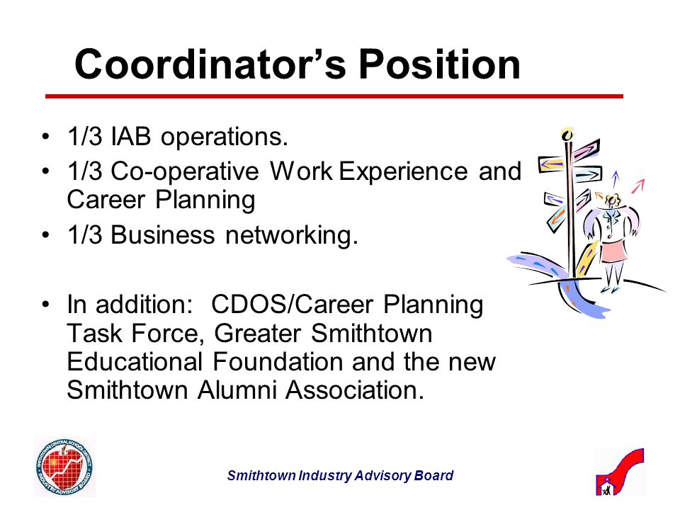 Smithtown Industry Advisory Board Coordinators Position 1/3 IAB operations.