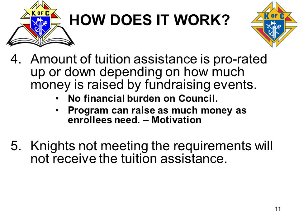 11 HOW DOES IT WORK? 4.Amount of tuition assistance is pro-rated up or down depending on how much money is raised by fundraising events. No financial