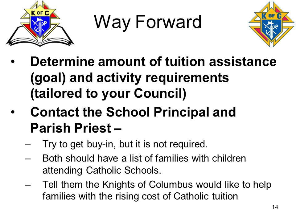 14 Way Forward Determine amount of tuition assistance (goal) and activity requirements (tailored to your Council) Contact the School Principal and Par