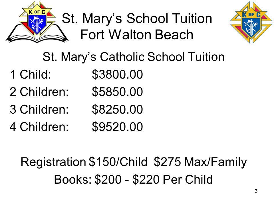 3 St. Marys School Tuition Fort Walton Beach St. Marys Catholic School Tuition 1 Child:$3800.00 2 Children:$5850.00 3 Children:$8250.00 4 Children:$95
