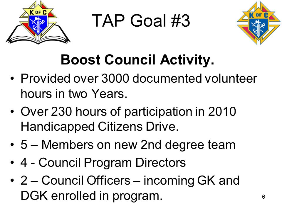 6 TAP Goal #3 Boost Council Activity. Provided over 3000 documented volunteer hours in two Years. Over 230 hours of participation in 2010 Handicapped