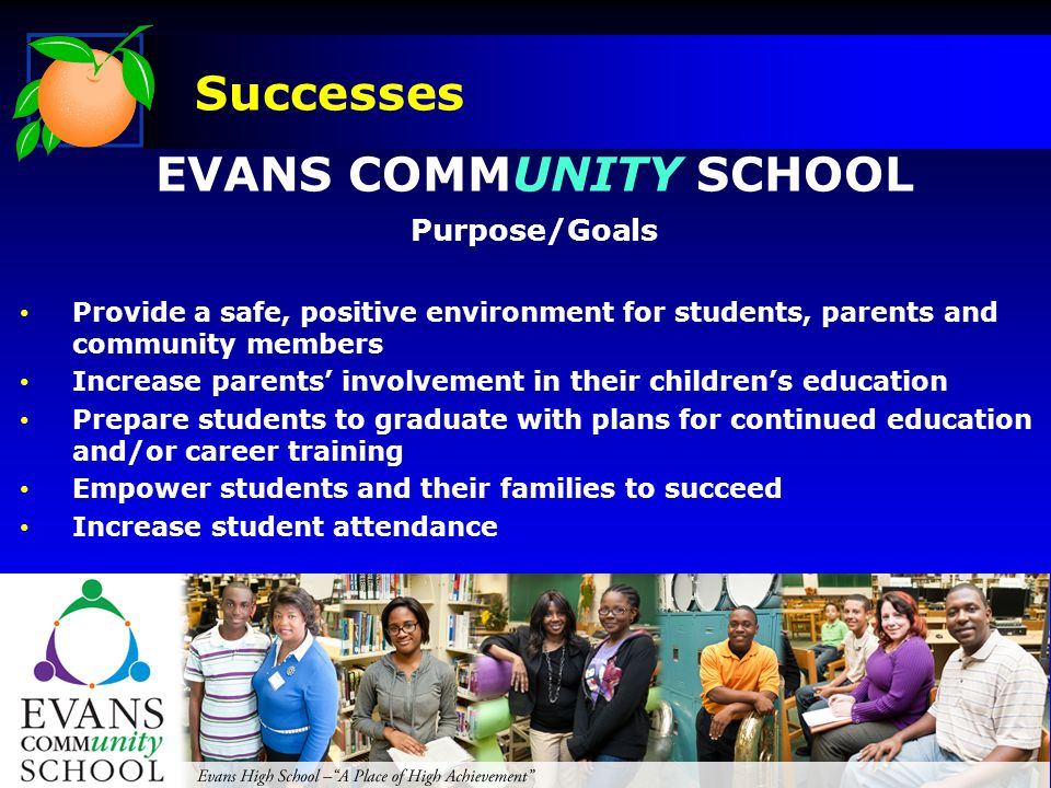 EVANS COMMUNITY SCHOOL Purpose/Goals Provide a safe, positive environment for students, parents and community members Increase parents involvement in their childrens education Prepare students to graduate with plans for continued education and/or career training Empower students and their families to succeed Increase student attendance Successes