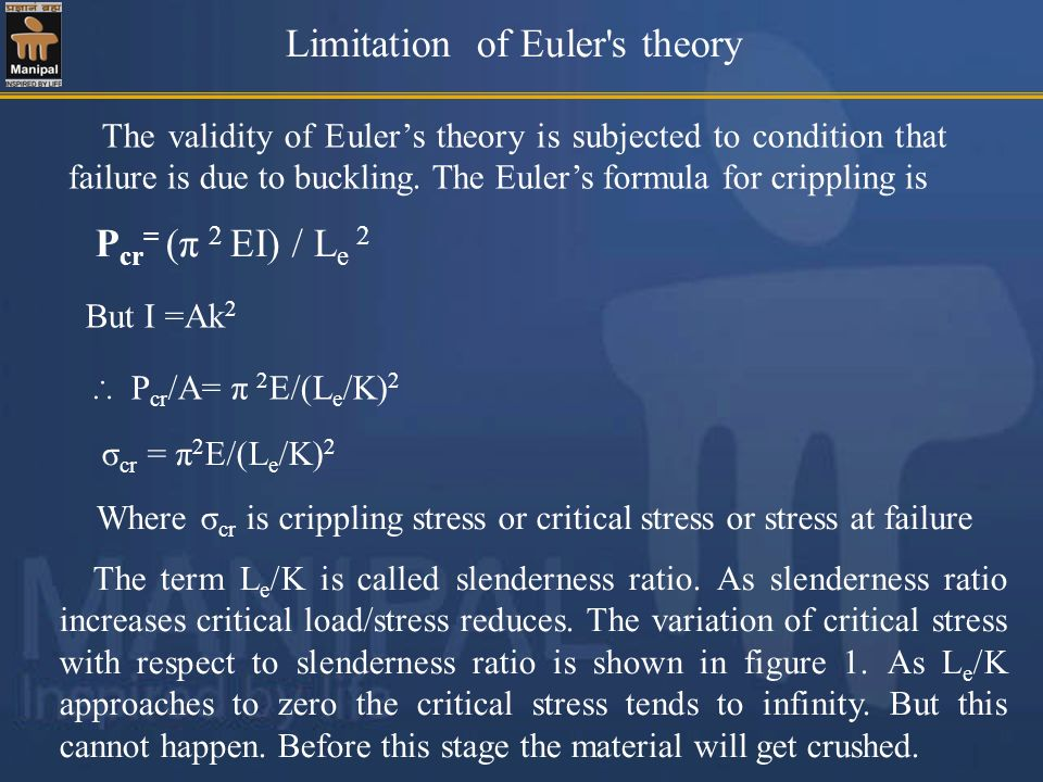 Limitation of Euler's theory P cr = (π 2 EI) / L e 2 But I =Ak 2 P cr /A= π 2 E/(L e /K) 2 σ cr = π 2 E/(L e /K) 2 Where σ cr is crippling stress or c