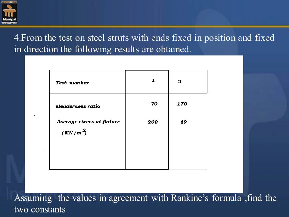 4.From the test on steel struts with ends fixed in position and fixed in direction the following results are obtained. Assuming the values in agreemen