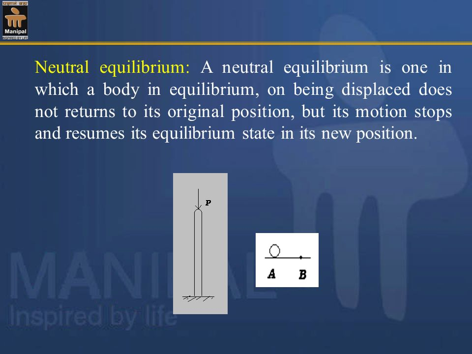 Neutral equilibrium: A neutral equilibrium is one in which a body in equilibrium, on being displaced does not returns to its original position, but it