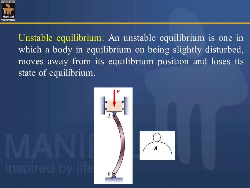Unstable equilibrium: An unstable equilibrium is one in which a body in equilibrium on being slightly disturbed, moves away from its equilibrium posit