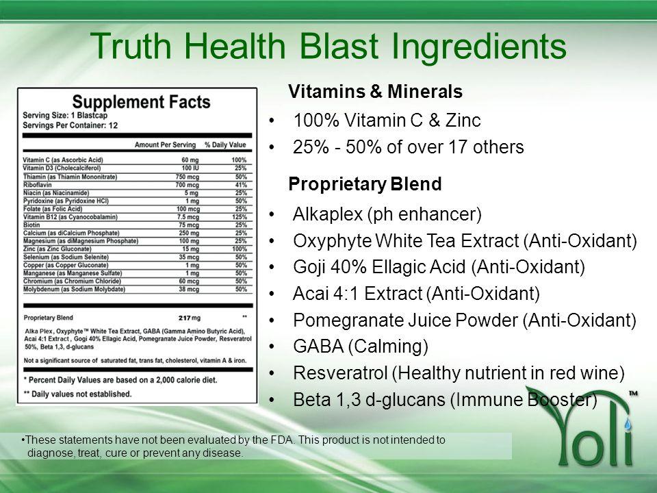Truth Health Blast Ingredients 100% Vitamin C & Zinc 25% - 50% of over 17 others Alkaplex (ph enhancer) Oxyphyte White Tea Extract (Anti-Oxidant) Goji