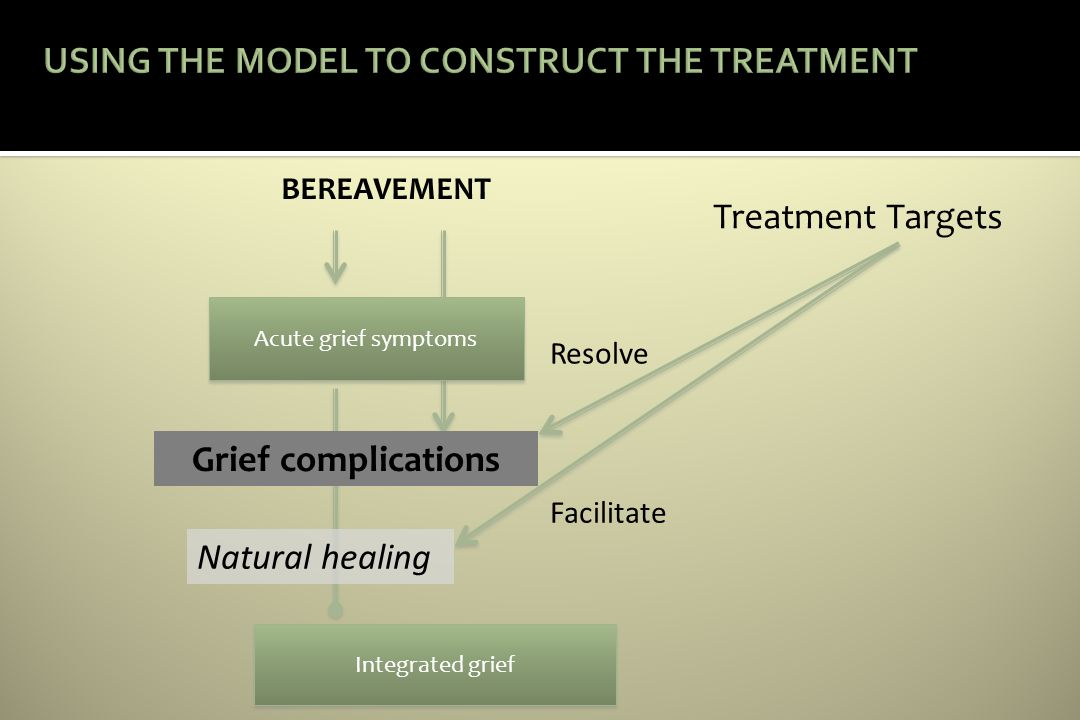 BEREAVEMENT Acute grief symptoms Integrated grief Treatment Targets Grief complications Natural healing Resolve Facilitate