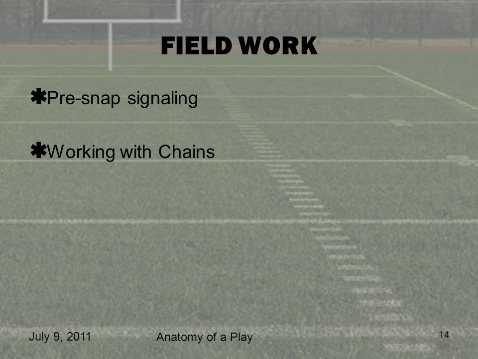 July 9, 2011 Anatomy of a Play 14 FIELD WORK Pre-snap signaling Working with Chains