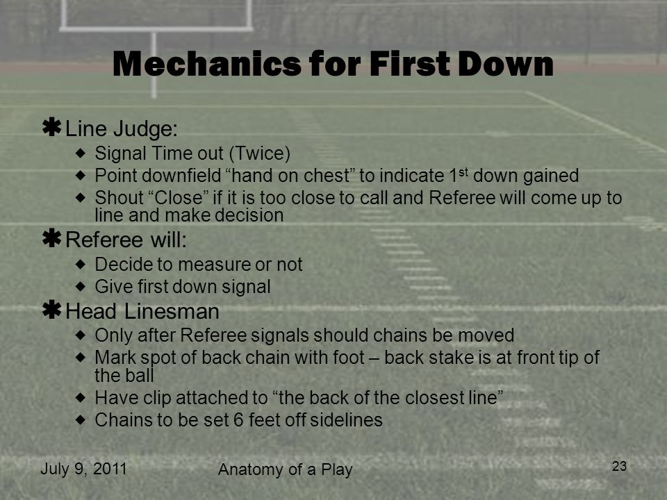 July 9, 2011 Anatomy of a Play 23 Mechanics for First Down Line Judge: Signal Time out (Twice) Point downfield hand on chest to indicate 1 st down gai