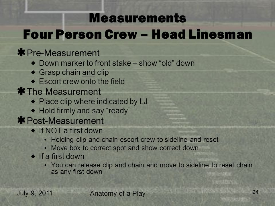 July 9, 2011 Anatomy of a Play 24 Measurements Four Person Crew – Head Linesman Pre-Measurement Down marker to front stake – show old down Grasp chain