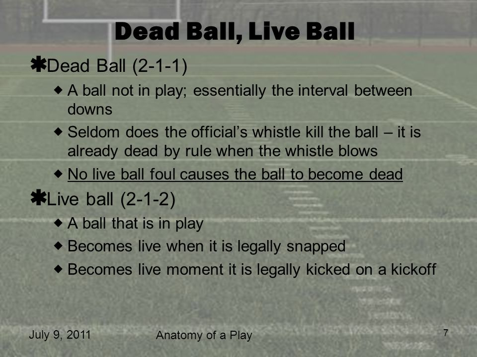July 9, 2011 Anatomy of a Play 7 Dead Ball, Live Ball Dead Ball (2-1-1) A ball not in play; essentially the interval between downs Seldom does the off