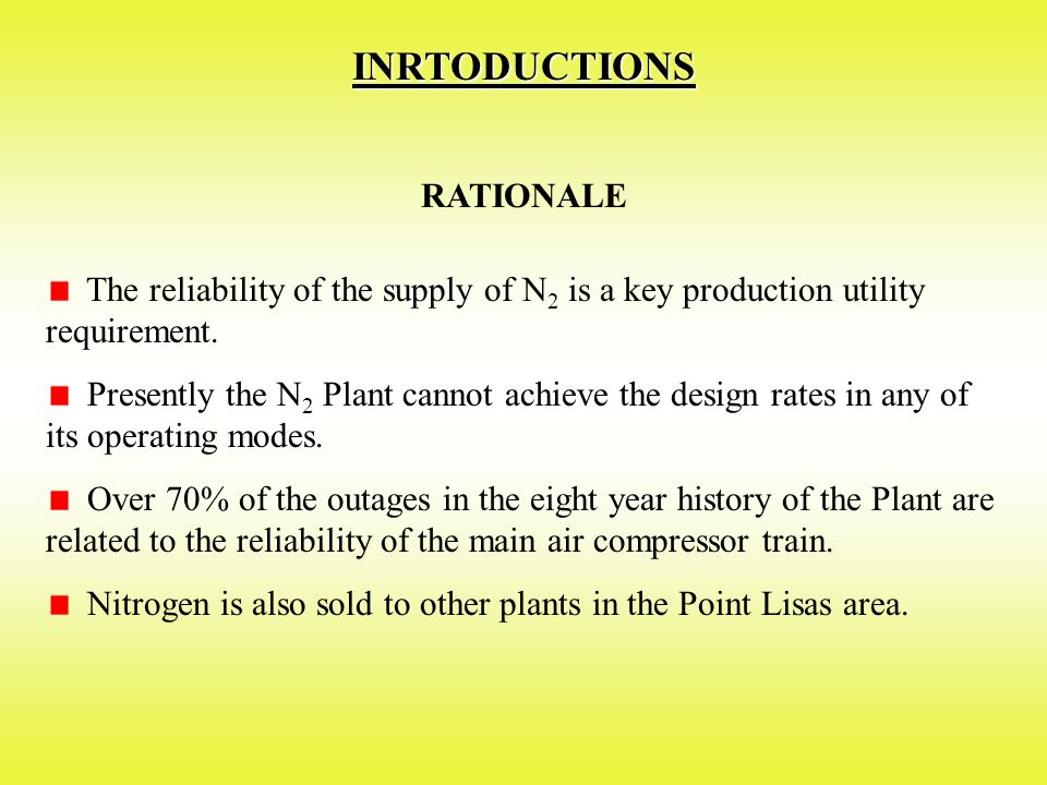 INRTODUCTIONS RATIONALE The reliability of the supply of N 2 is a key production utility requirement.
