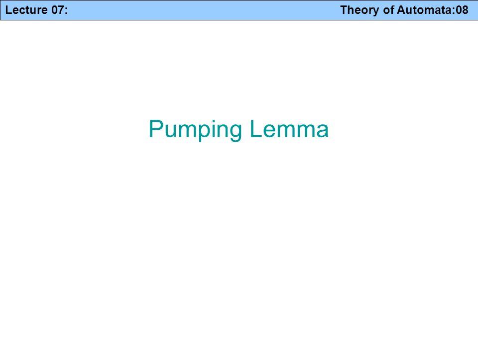 Lecture 07: Theory of Automata:08 Pumping Lemma
