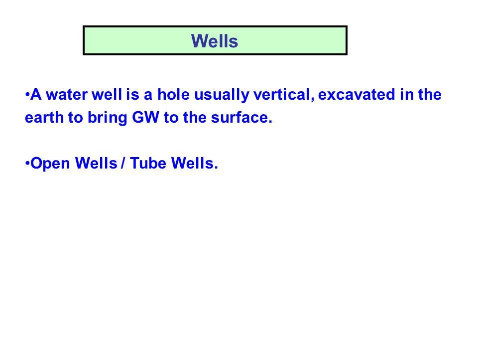 Open Wells (Dug Wells) Open masonry wells, 2 – 9 m dia, less than 20 m depth.