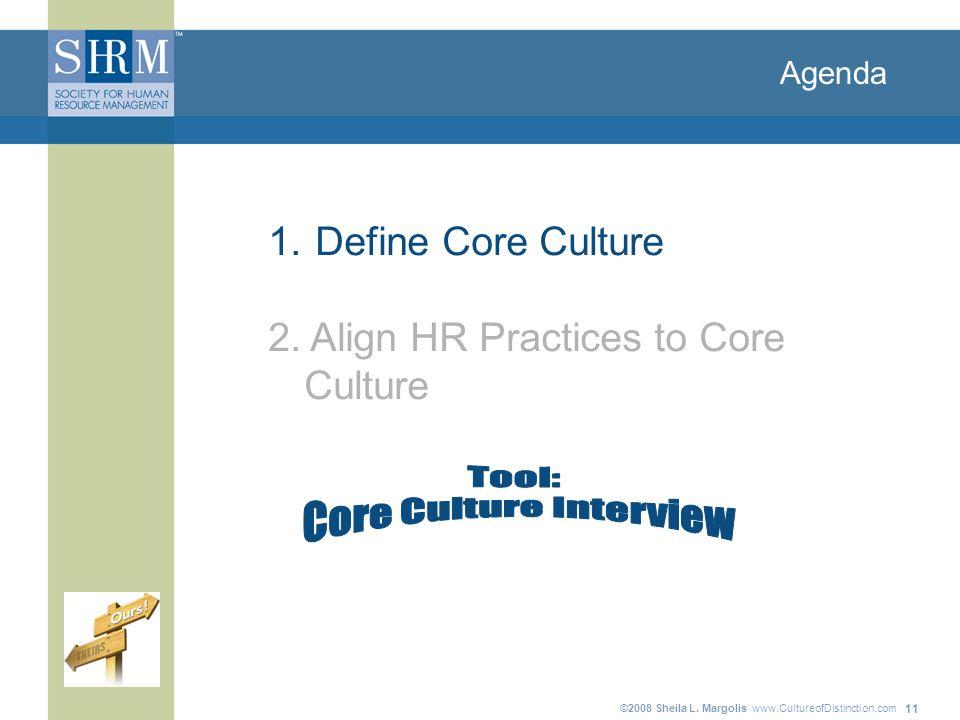 ©2008 Sheila L. Margolis www.CultureofDistinction.com 11 Agenda 1. Define Core Culture 2. Align HR Practices to Core Culture