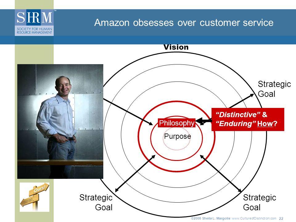©2008 Sheila L. Margolis www.CultureofDistinction.com 22 Amazon obsesses over customer service Purpose Strategic Goal Strategic Goal Strategic Goal St