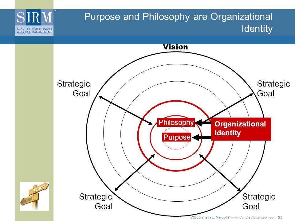 ©2008 Sheila L. Margolis www.CultureofDistinction.com 23 Purpose and Philosophy are Organizational Identity Strategic Goal Strategic Goal Strategic Go