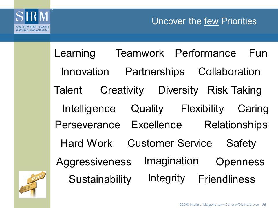 ©2008 Sheila L. Margolis www.CultureofDistinction.com 28 Uncover the few Priorities QualityFlexibility Customer Service Teamwork Intelligence Learning