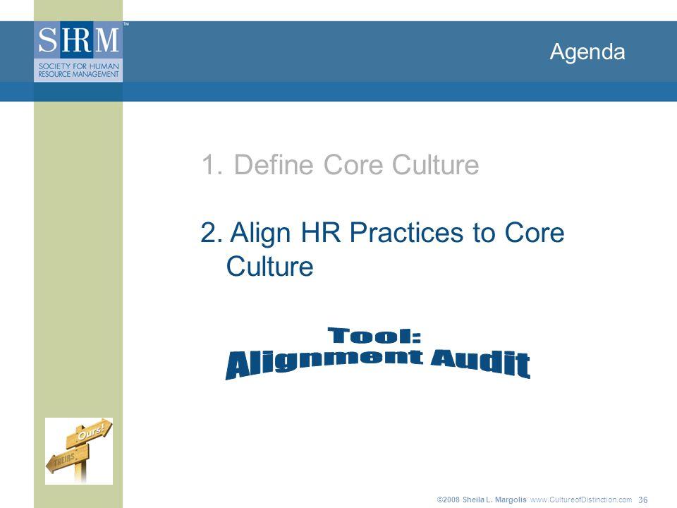 ©2008 Sheila L. Margolis www.CultureofDistinction.com 36 Agenda 1. Define Core Culture 2. Align HR Practices to Core Culture