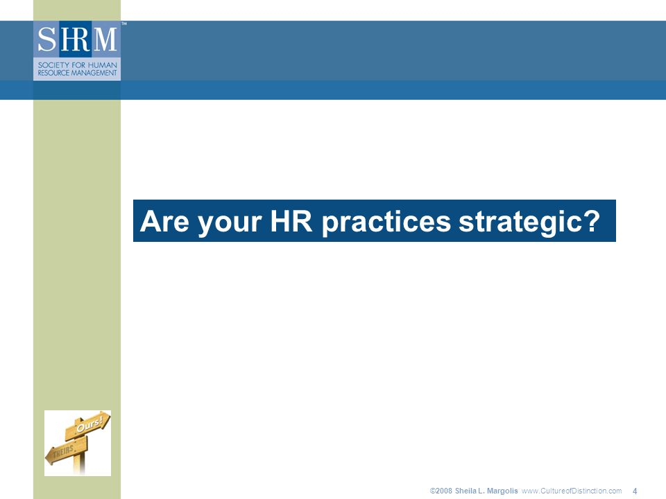 ©2008 Sheila L. Margolis www.CultureofDistinction.com 4 Are your HR practices strategic