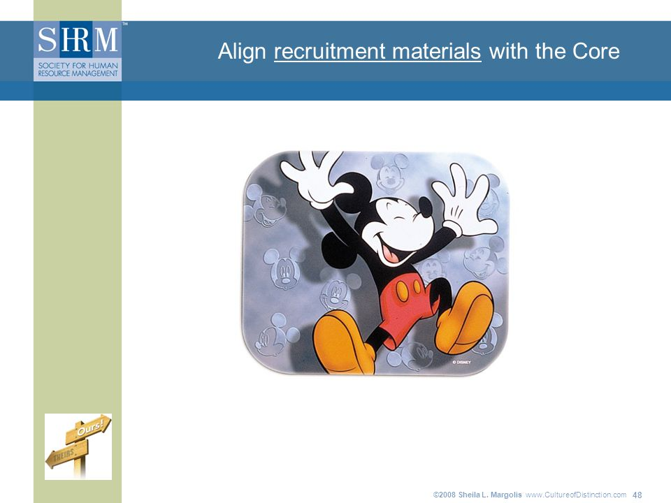 ©2008 Sheila L. Margolis   48 Align recruitment materials with the Core
