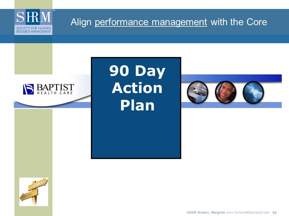 ©2008 Sheila L. Margolis www.CultureofDistinction.com 56 90 Day Action Plan Align performance management with the Core