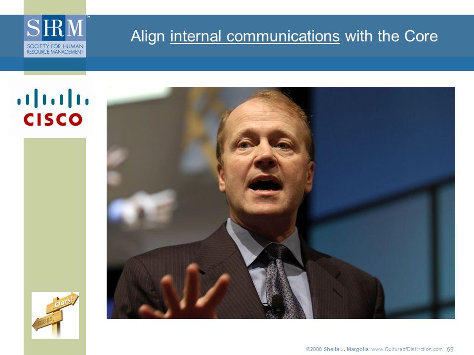 ©2008 Sheila L. Margolis www.CultureofDistinction.com 59 Align internal communications with the Core