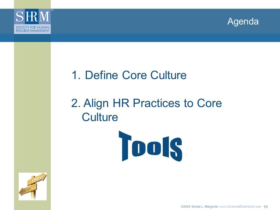 ©2008 Sheila L. Margolis www.CultureofDistinction.com 66 Agenda 1. Define Core Culture 2. Align HR Practices to Core Culture