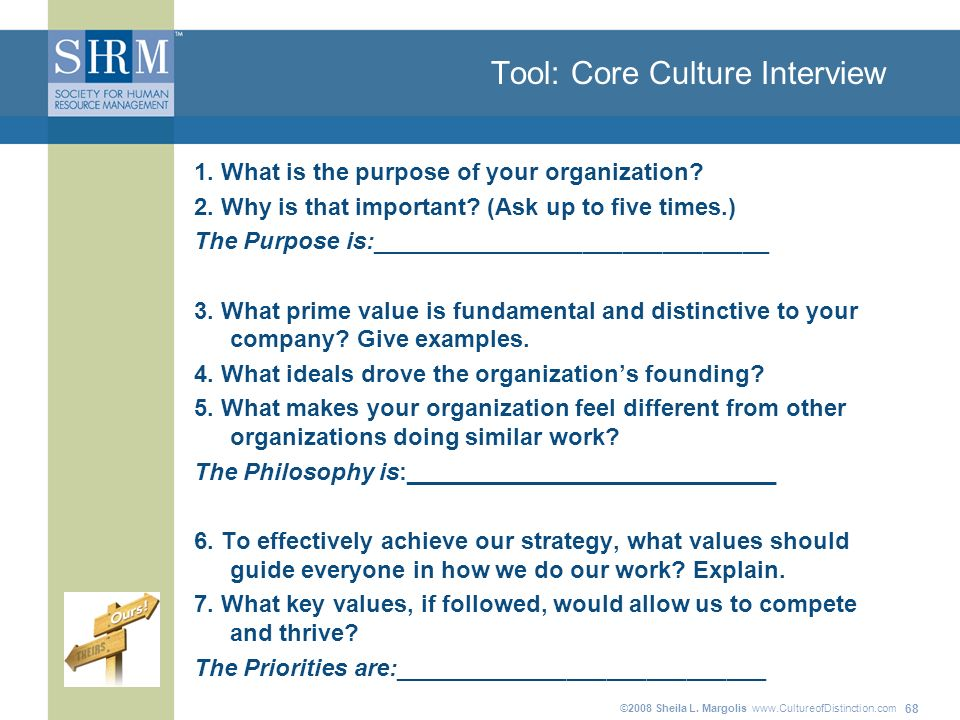 ©2008 Sheila L. Margolis   68 Tool: Core Culture Interview 1.